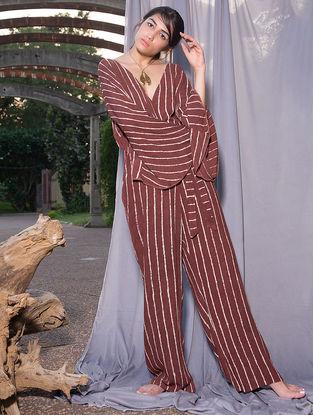 Maroon Dabu-printed Crepe Jumpsuit