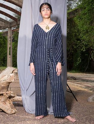 Indigo Dabu-printed Crepe Jumpsuit