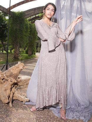Grey Dabu-printed Cotton Modal Maxi Dress