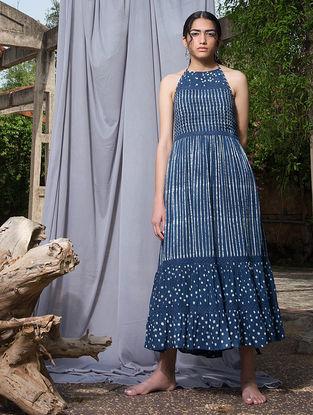 Indigo Dabu-printed Cotton Modal Halter Dress