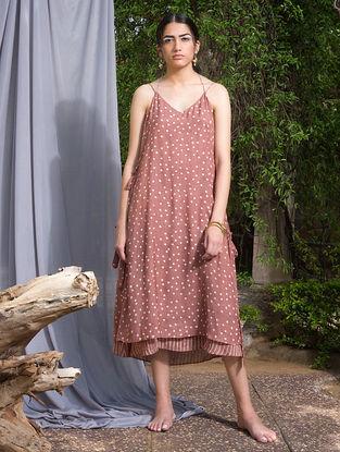 Peach Dabu-printed Modal Silk Dress