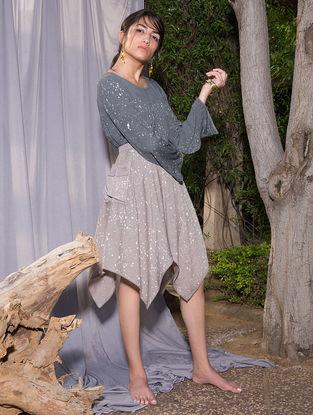 Grey Dabu-printed Cotton Modal Skirt