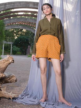 Mustard Dabu-printed Crepe Shorts
