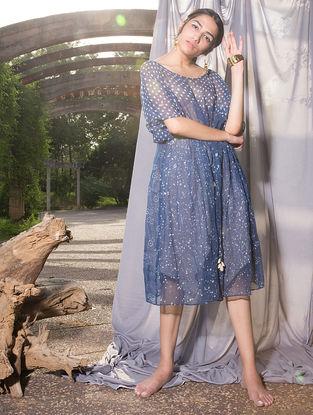 Indigo Dabu-printed Kota Doria Dress
