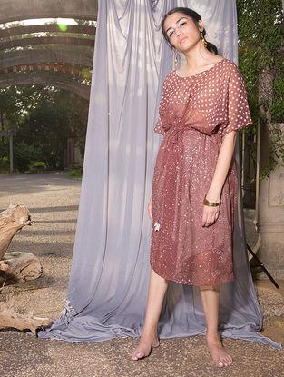 Maroon Dabu-printed Kota Doria Dress