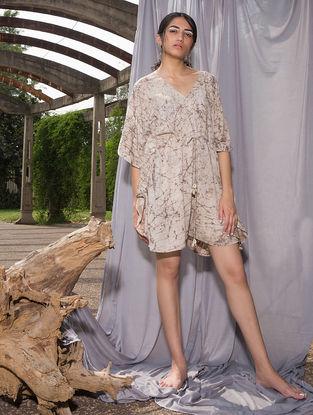 Ivory-Brown Dabu-printed Cotton Modal Playsuit