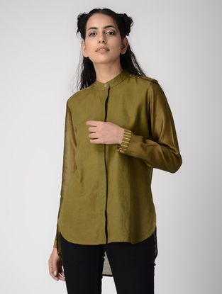 Olive Dabu-printed Cotton-Chanderi Silk Shirt