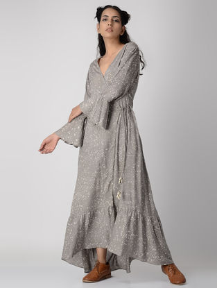 Grey Dabu-printed Tie-up Waist Cotton Modal Maxi Dress