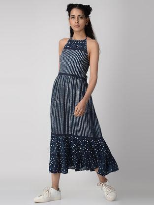 Indigo Dabu-printed Cotton Modal Dress with Gathers