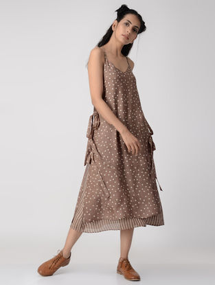 Pink Dabu-printed Layered Silk Modal Dress
