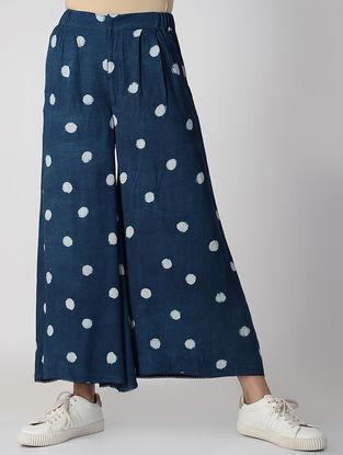 Indigo Dabu-printed Elasticated Waist Rayon Crepe Pants