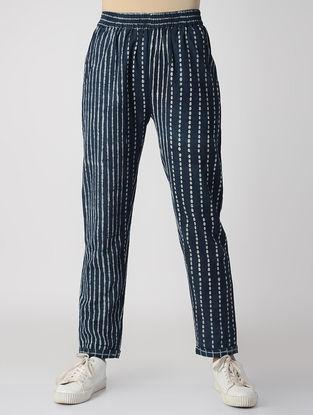 Indigo Dabu-printed Elasticated Waist Cotton Pants