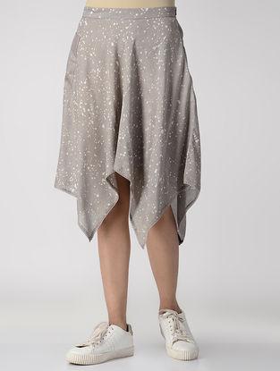 Grey Dabu-printed Cotton Modal Skirt with Asymmetrical Hem