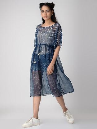 Indigo Dabu-printed Kota Doria Overlay Dress with Drawstring