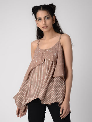 Pink Dabu-printed Layered Cotton Modal Camisole