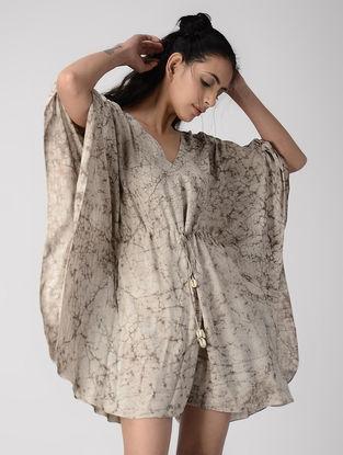Ivory- Brown Dabu-printed Tie-up Waist Cotton Modal Jumpsuit