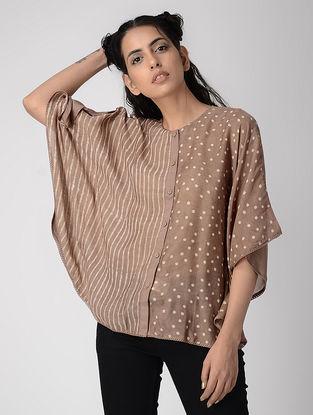 Pink Dabu-printed Silk Modal Shirt