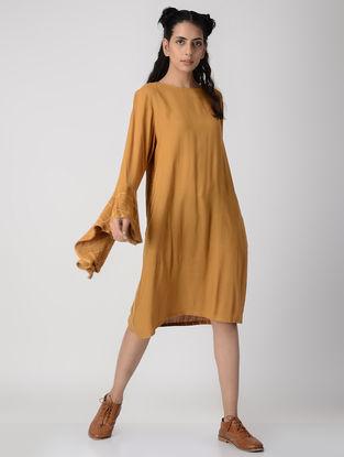 Mustard Dabu-printed Rayon Crepe Dress