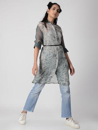 Grey Dabu-printed Kota Doria Overlay Shirt Dress