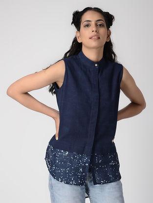 Indigo Dabu-printed Paneled Cotton-Chanderi Silk Shirt