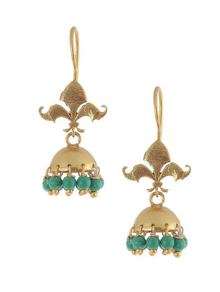 Green-Gold Plated Brass Jhumkis