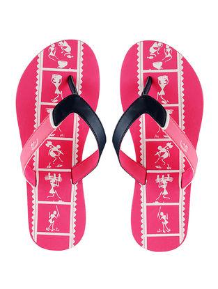 Pink Warli Printed Flip-Flop