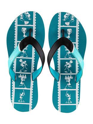 Turquoise Warli Printed Flip-Flop