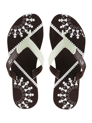 Brown Chaukhat Printed Flip-Flop