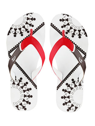 White Chaukhat Printed Flip-Flop