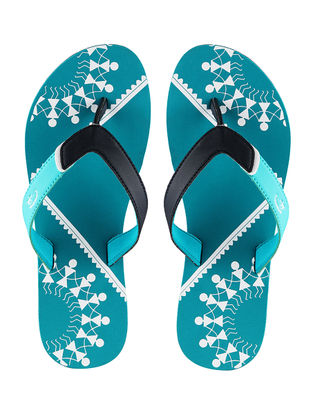 Turquoise Chaukhat Printed Flip-Flop