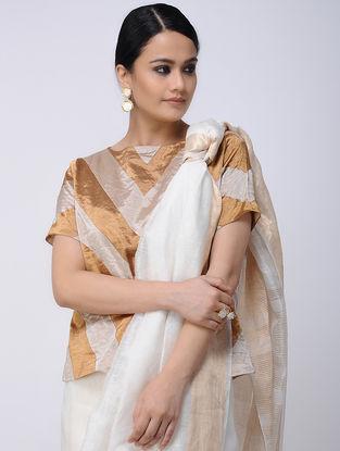 Ivory-Beige Silk Tissue Blouse
