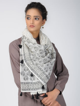 Ivory-Grey Block-printed Chanderi Stole with Tassels