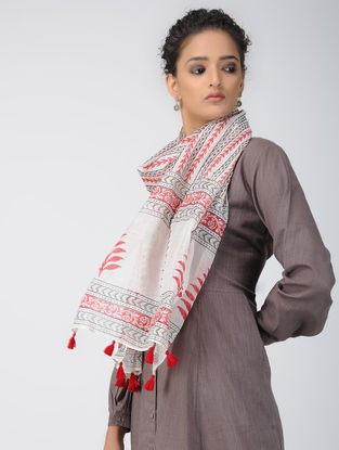 Ivory-Red Block-printed Chanderi Stole with Tassels