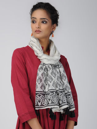 Ivory-Black Block-printed Chanderi Stole with Tassels