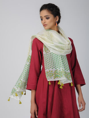 Ivory-Green Block-printed Chanderi Stole with Tassels