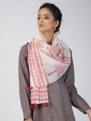 Ivory-Pink Block-printed Chanderi Stole with Tassels