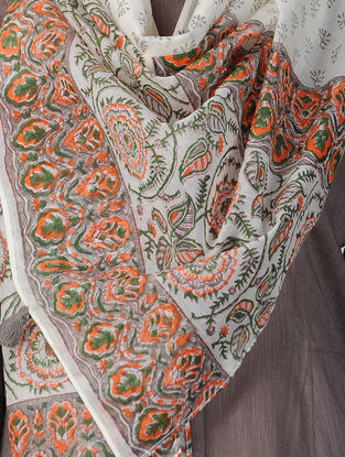 Ivory-Orange Block-printed Chanderi Stole with Tassels