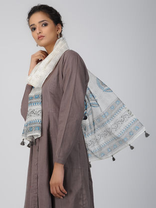 Ivory-Blue Block-printed Chanderi Stole with Tassels