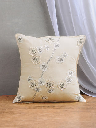 Beige Embroidered Dupion Silk Cushion Cover (16in x 16in)