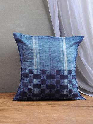Blue Shibori Chanderi Silk Cushion Cover (16in x 16in)