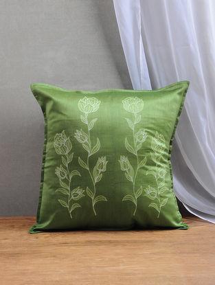 Green Shibori Chanderi Silk Cushion Cover (16in x 16in)