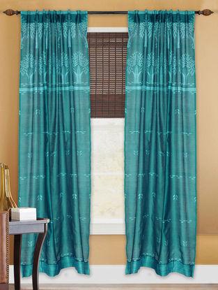 Teal Shibori Chanderi Silk Curtain - 7ft