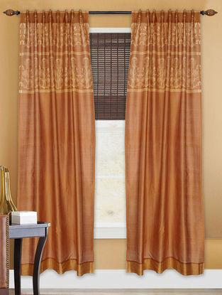 Rust Shibori Chanderi Silk Curtain - 7ft