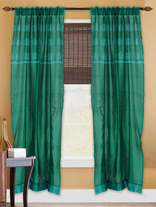 Green Shibori Chanderi Silk Curtain - 7ft
