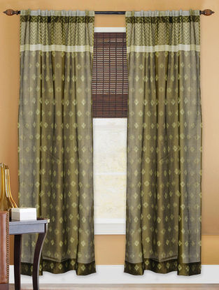 Olive Shibori Chanderi Silk Curtain - 7ft