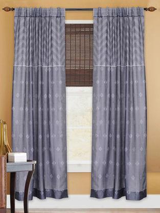 Grey Shibori Chanderi Silk Curtain - 7ft