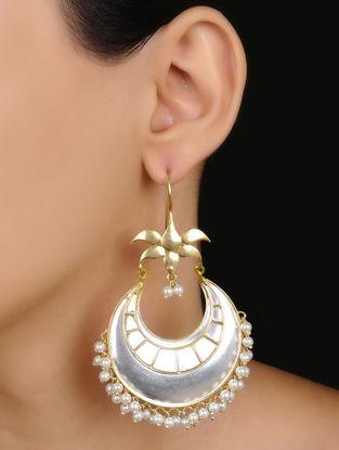 Ethno Dual Tone Pearl Drop Silver Earrings