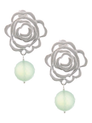 Chalcedony Silver Earrings with Floral Design