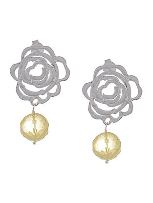 Faceted Lemon Quartz Silver Earrings with Floral Design