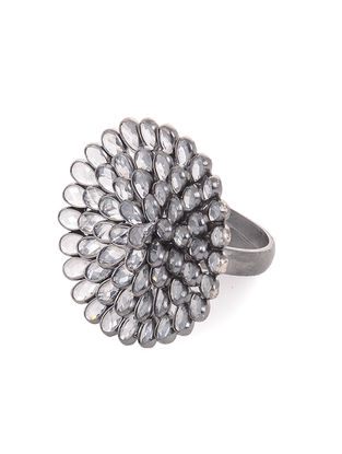 Crystal Adjustable Silver Ring